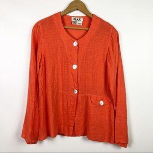 FLAX Orange Linen Button Down Shirt
